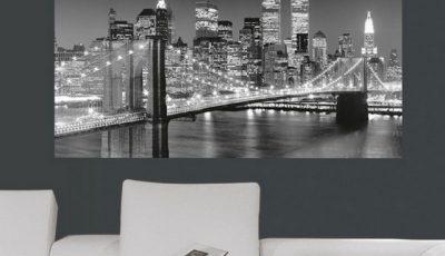 Фотообои Бруклинский мост за диваном