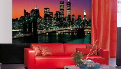 Фотообои Бруклинский мост за красным диваном