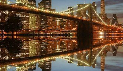 Фотообои Бруклинский подвестной мост отражение в воде