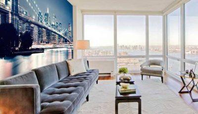 Фотообои Бруклинский подвестной мост в панорамной комнате
