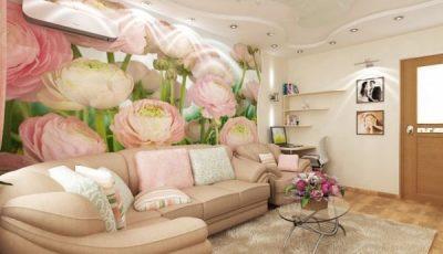 Фотообои с розовыми пионами за мебелью