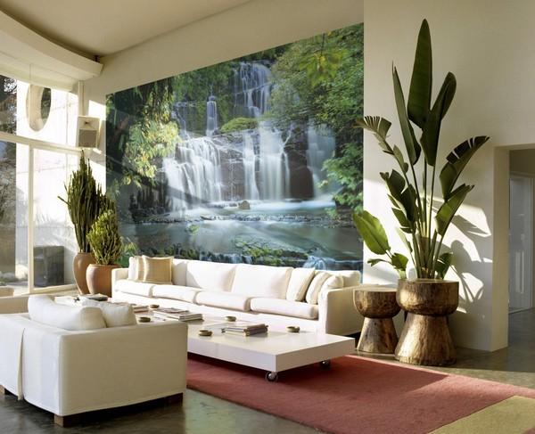 Фотообои водопад на белой стене