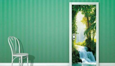 Фотообои водопад на двери