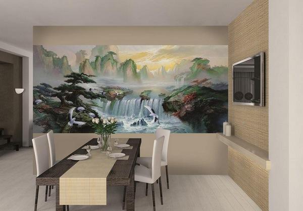 Фотообои водопад на стене кухни