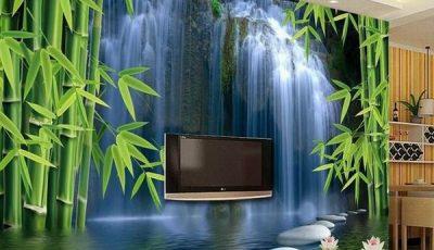 Фотообои водопад на стене с телевизором