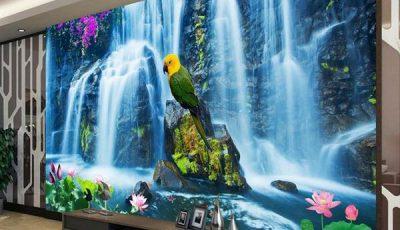 Фотообои водопад с попугаем