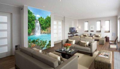 Фотообои водопад в большой гостиной