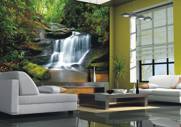 Фотообои водопад в интерьере гостиной