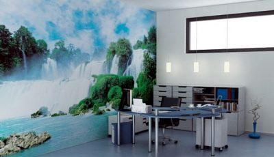 Фотообои водопад в кабинете