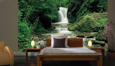 Фотообои водопад в спальне темных тонов