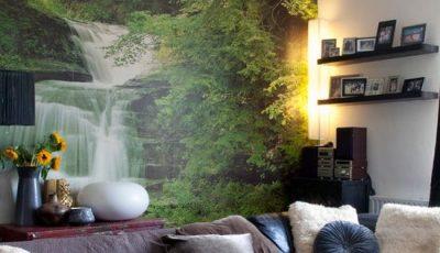 Фотообои водопад в уютном интерьере гостиной