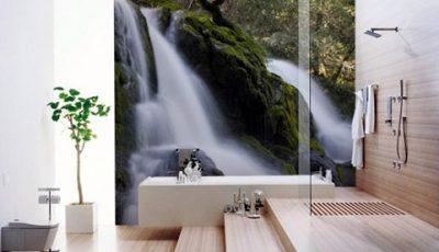 Фотообои водопад в ванной
