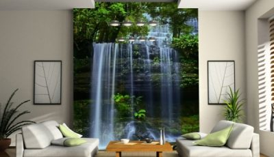 Фотообои водопад в зале