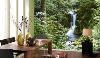 Фотообои водопад в зеленой комнате