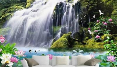 Фотообои водопад за белым диваном