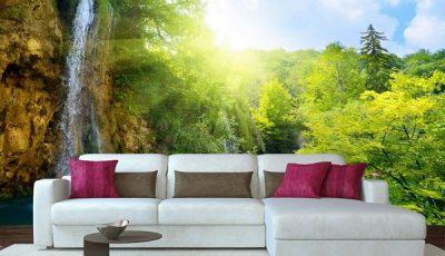 Фотообои водопад за диваном