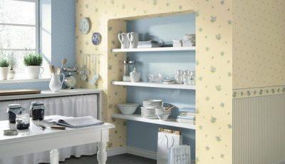 Комбинированные голубые и желтые обои для кухни