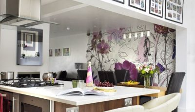 Комбинированные обои на кухню с рисунком