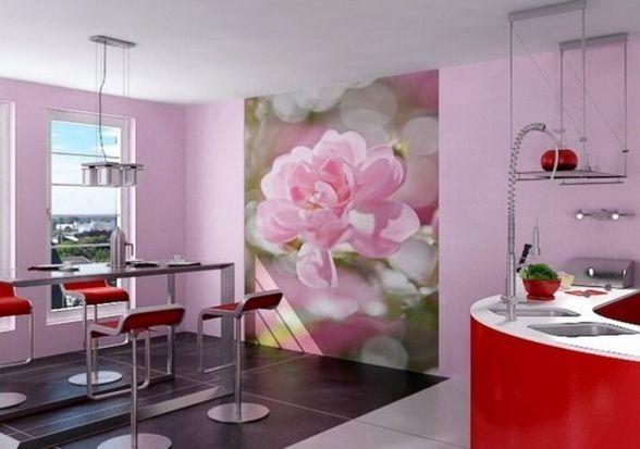 Интерьер кухни с фотообоями цветы фото