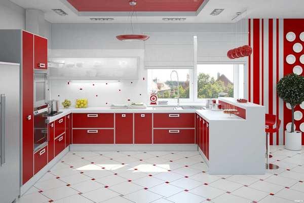 Красивые обои для большой кухни красного цвета