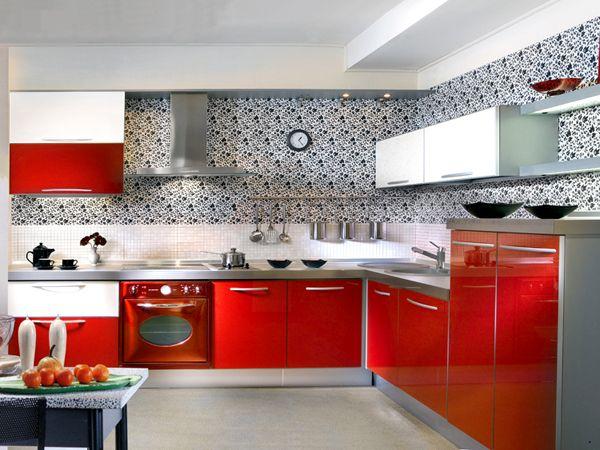 Красивые обои для кухни красного цвета