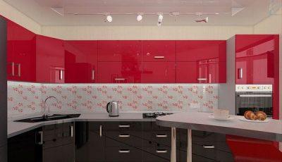 Красная кухня и натяжной потолок