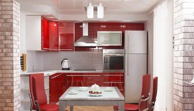 Красная кухня и светлые стены