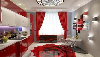 Кухня красного цвета небольшого размера