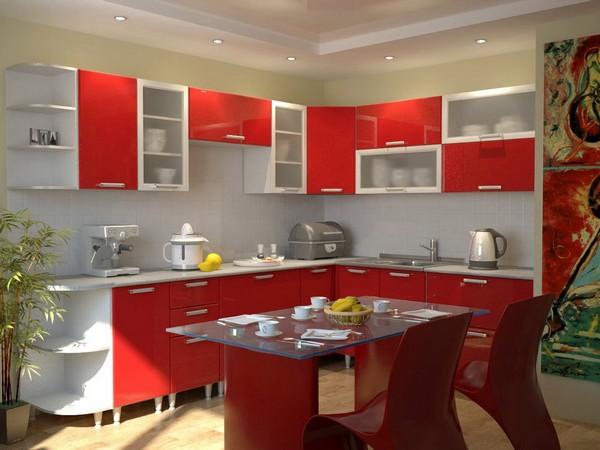 Мебель и обои красного цвета
