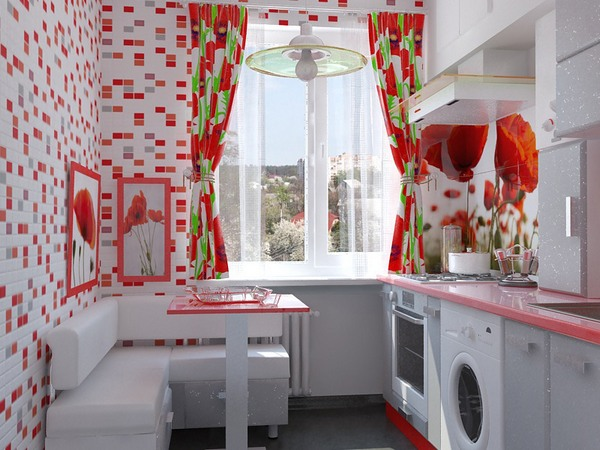 Обои для маленькой кухни красного цвета
