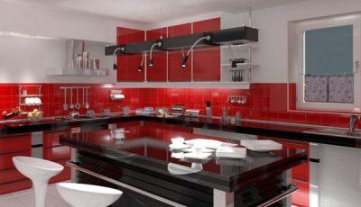 Оформление красной кухни