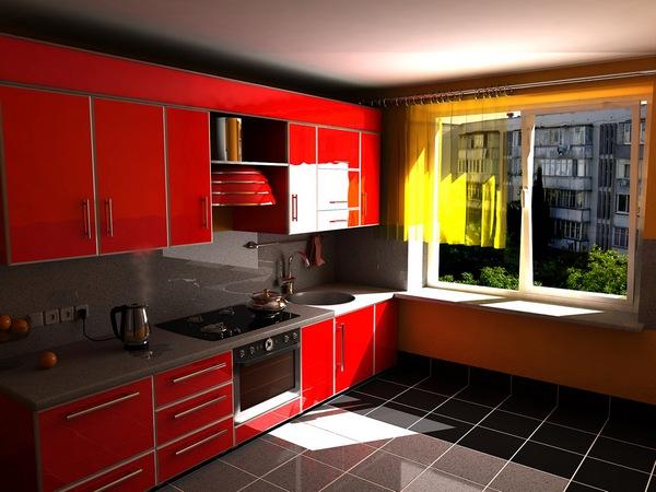 Оранжевые обои для кухни красного цвета