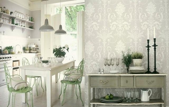 Светлые комбинированные обои на кухне в стиле прованс
