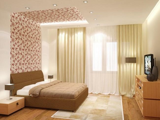 Зонирование спальни потолка