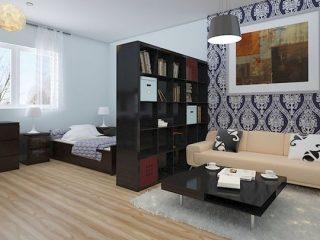 Зонирование однокомнатной квартиры обоями