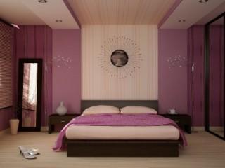 Обои лилового цвета для спальни