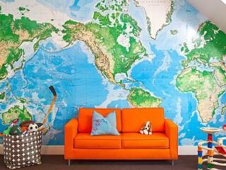 Обои в виде карты мира в комнату
