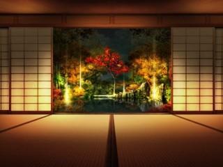 Обои в японском стиле на стенах комнаты
