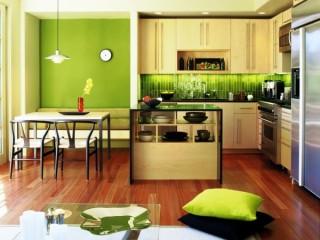 Обои желто-зеленого цвета для стен комнаты