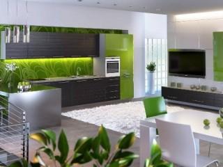 Зеленые обои для кухни: спокойный интерьер